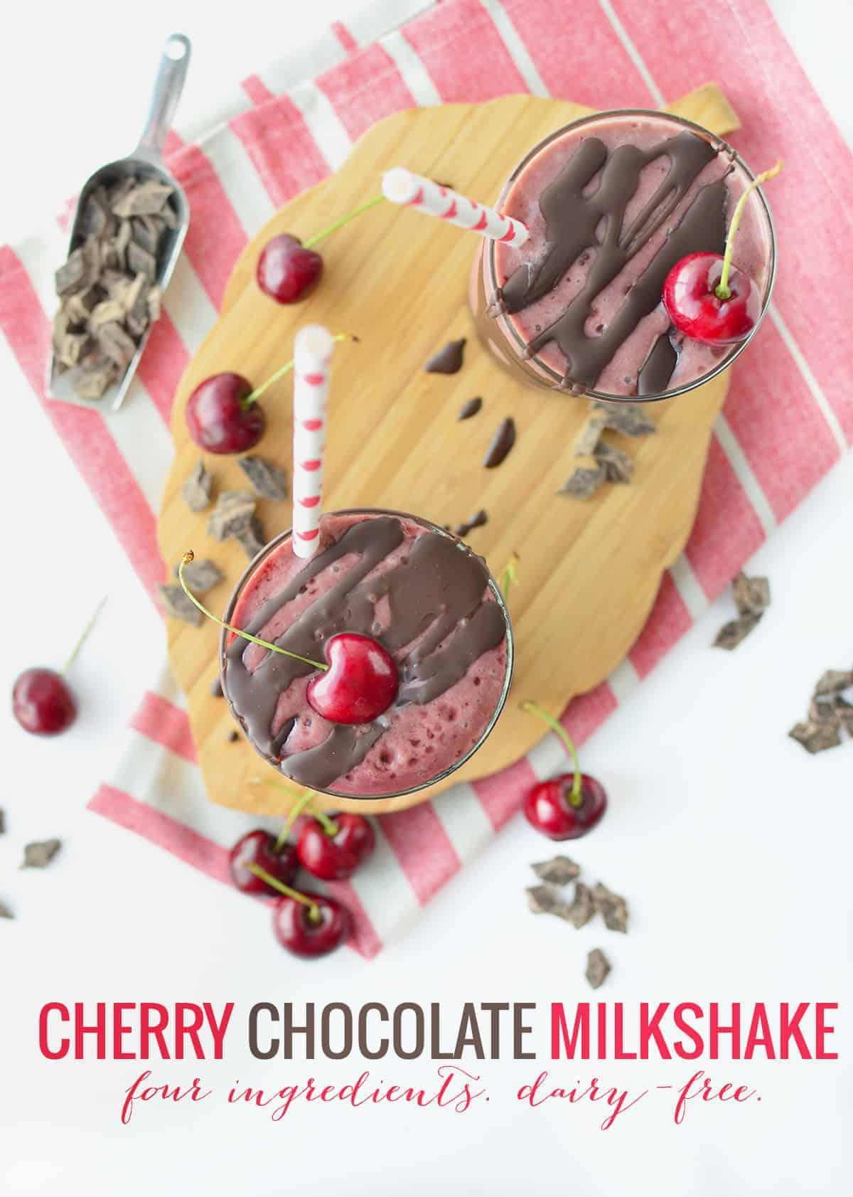 Chocolate Cherry Milkshakes! Just 4 ingredients, naturally sweetened and dairy-free! Everybody will love these, you've gotta make them. #vegan #dairyfree #kidfriendly #dessert   www.delishknowledge.com