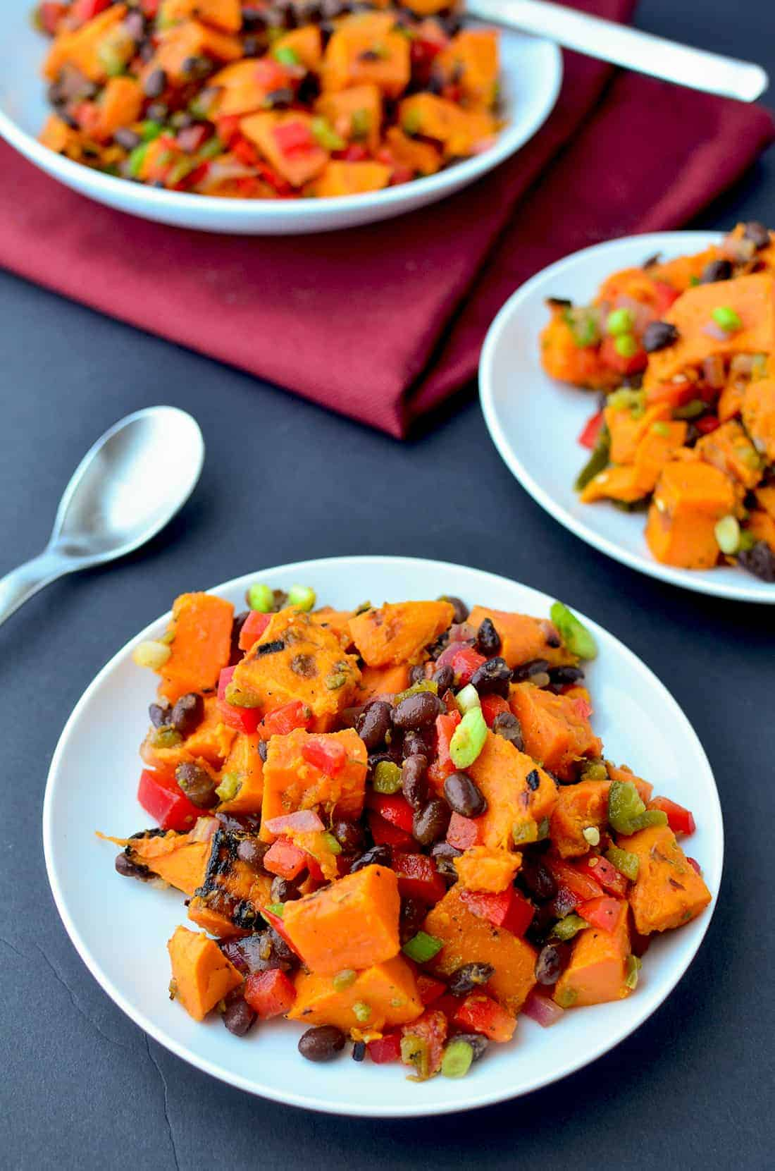 A MUST make for cookouts! Grilled Sweet Potato Salad with roasted jalapeno dressing. #vegan and #glutenfree | www.delishknowledge.com