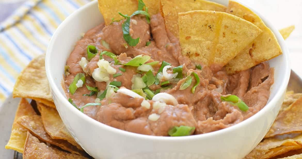 Spicy Bean Dip with Homemade Tortilla Chipleaderboard