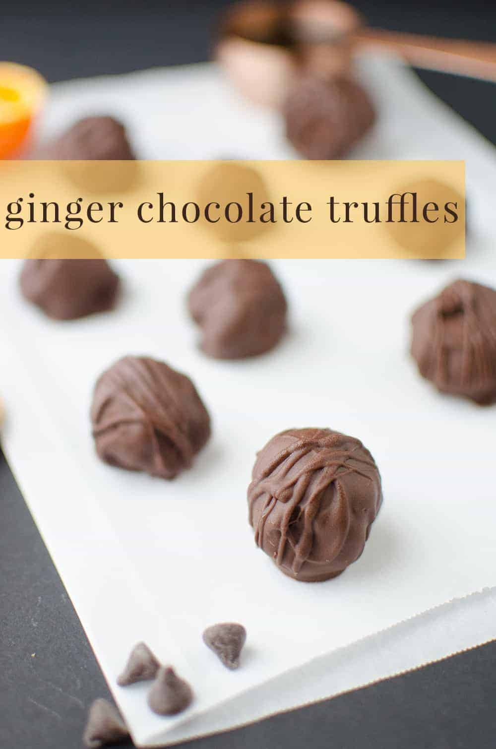 Ginger Chocolate Truffles! Mostly raw, vegan ginger-orange caramels dipped in chocolate! So easy and delicious! Makes a great #DIY #Christmas gift idea!