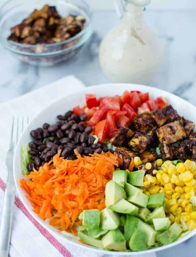 CPK Vegan Copycat! Chopped BBQ tofu salad with homemade bbq-ranch dressing! Taste just like the CPK version only much healthier!