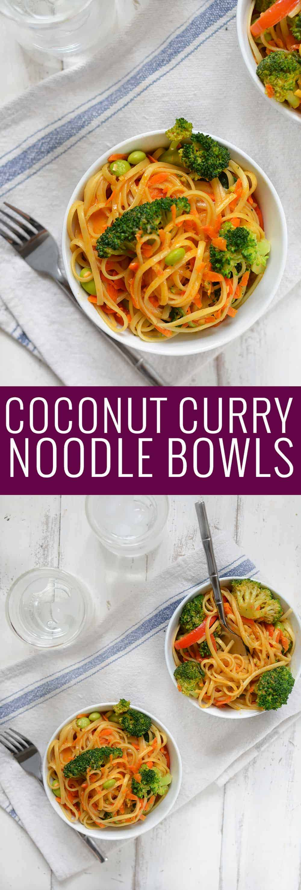 Vegan Coconut Curry Noodle Bowls! 2 servings of vegetables in every bowl! Linguini & Vegetables simmered in a coconut red curry sauce. Ready in less than 30 minutes! | www.delishknowledge.com