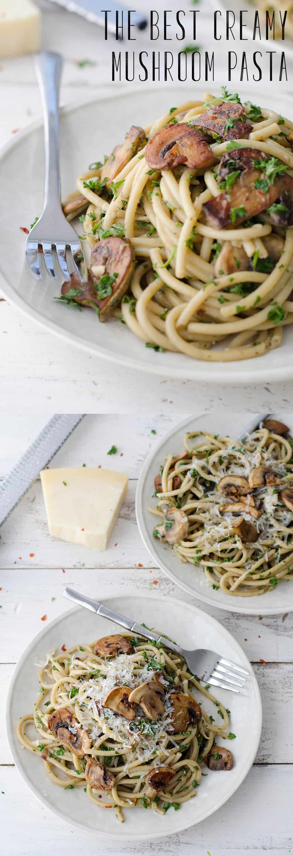 The BEST creamy mushroom pasta! Made with a secret ingredient, this pasta is packed with savory umami flavor and ready in just 20 minutes! Save this for weeknight dinners.   www.delishknowledge.com