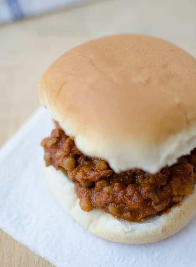 Football Fare for everyone! An easy sandwich loved by vegetarians and meat eaters alike! Hearty lentils cooked in a spicy, tangy sauce. Each sandwich packs 12g of fiber and 10g of protein.