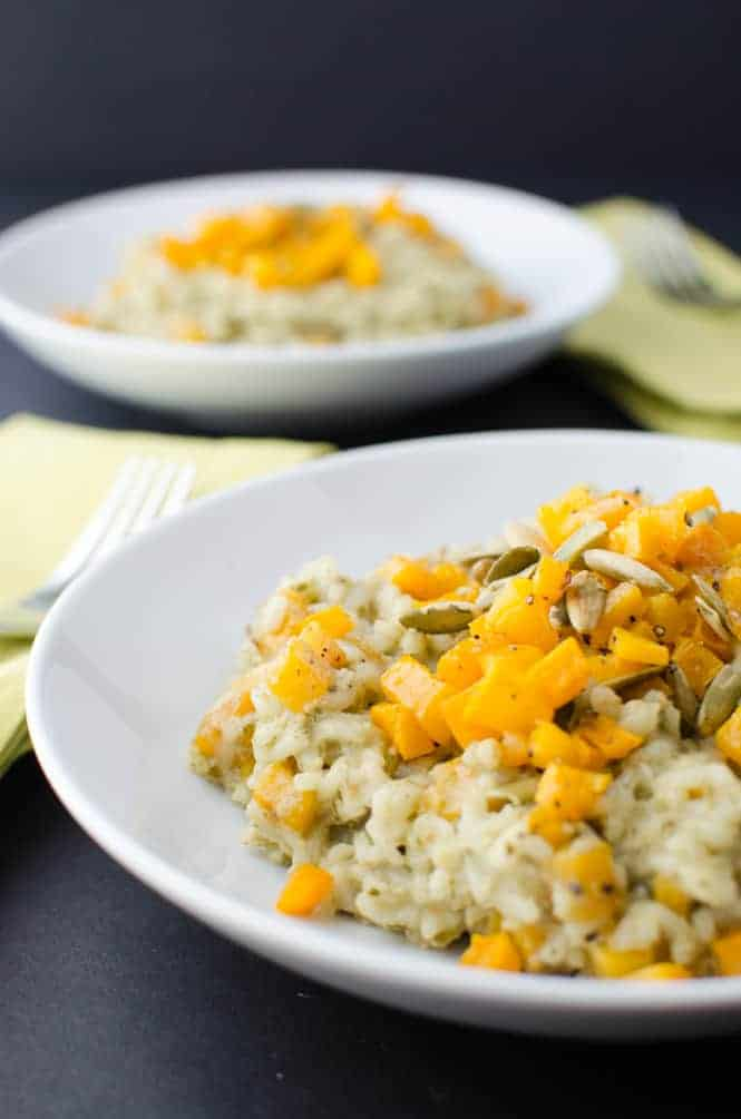 This pumpkin risotto is layer upon layer of fresh fall flavors.
