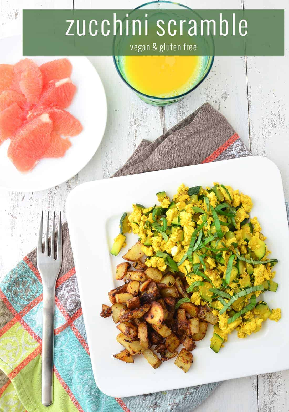Zucchini and Basil Scramble! A healthy, cholesterol free breakfast option. If you haven't tried tofu scramble before, you're in for a treat! High protein and taste just a lot like eggs!   www.delishknowledge.com